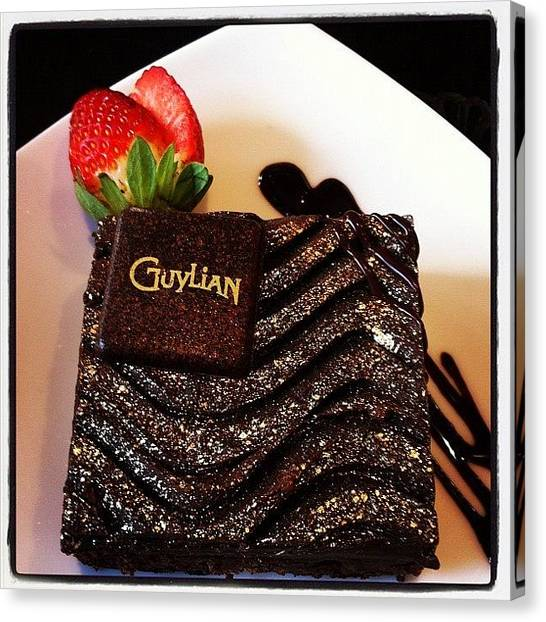 Strawberries Canvas Print - Guylian Chocolate Brownie   by Andrew Coulson