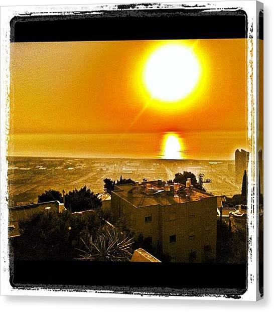 Israeli Canvas Print - Haifa Sunset by Kim Cafri