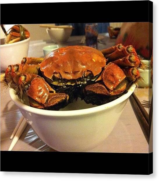 Seafood Canvas Print - #hairycrab #crab #seafood #shanghaicrab by TC Li