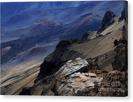 Surfboard Fence Canvas Print - Haleakala Crater  by Bob Christopher