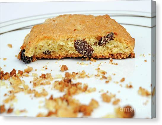 Half Cookie And Crumbs In Plate Canvas Print by Sami Sarkis