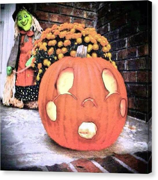 Witches Canvas Print - #halloween #2010 #jackolantern #pumpkin by Lori Lynn Gager