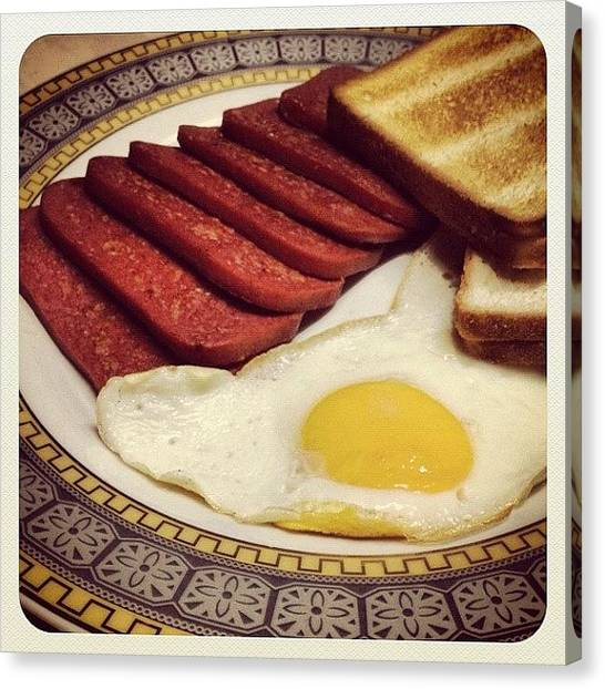 Ham Canvas Print - Ham And Egg Fave Breakfast Meal For by Rye Basco