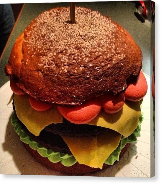 Hamburger Canvas Print - Hamburger Birthday Cake by Avril O