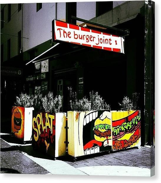 Hamburger Canvas Print - #hamburger #food #kingscross #sydney by Matt Boyd