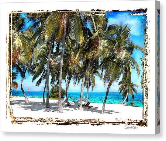 Hammock In Palms Canvas Print by Linda Olsen