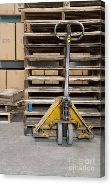 Forklifts Canvas Print - Hand Truck And Wooden Pallets by Shannon Fagan