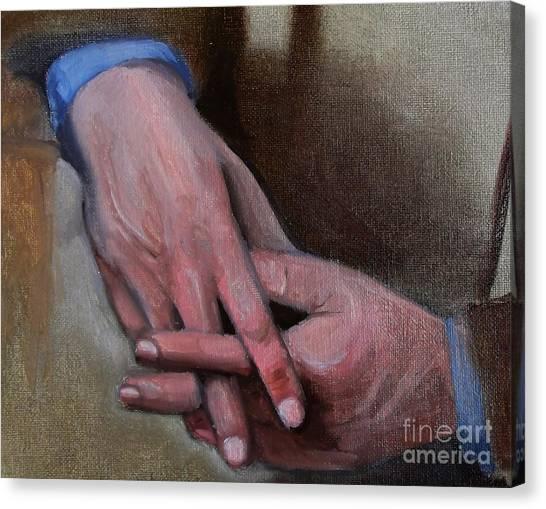 Hands In Oils Canvas Print by Kostas Koutsoukanidis