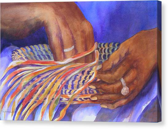Hands Of The Basket Weaver Canvas Print
