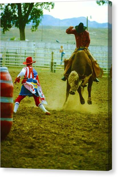 Rodeo Clown Canvas Print - Hanging On by Richard Stillwell