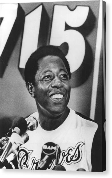 Atlanta Braves Canvas Print - Hank Aaron, During A News Conference by Everett