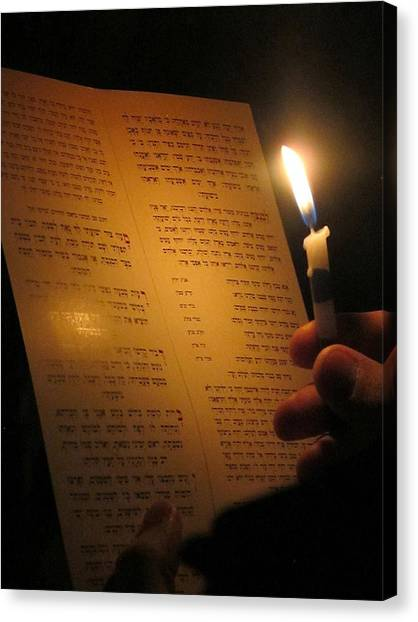 Hanukkah By Candlelight Canvas Print by Tia Anderson-Esguerra