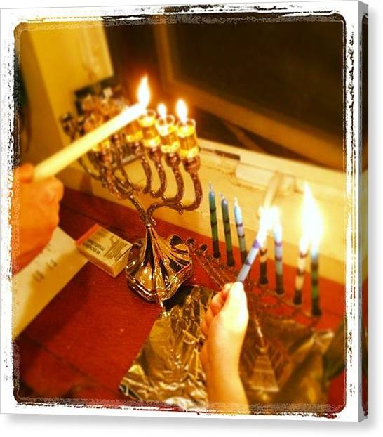 Israeli Canvas Print - Happy 6th Night Of #hanukkah! We Did by Bryce Gruber