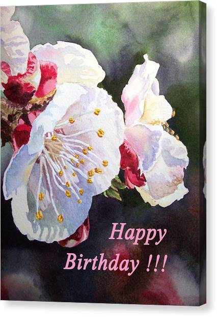 Happy Birthday Canvas Print - Happy Birthday Card Apricot Flowers by Irina Sztukowski