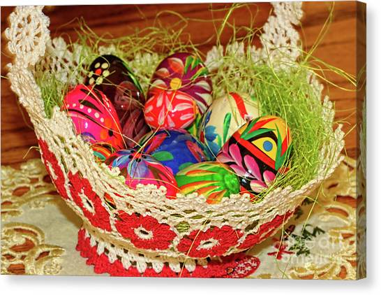 Easter Baskets Canvas Print - Happy Easter Basket by Mariola Bitner