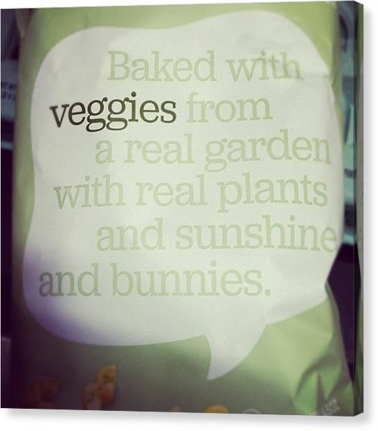 Vegetarian Canvas Print - Happy Food. #veggies #vegetarian #food by Jenna Luehrsen