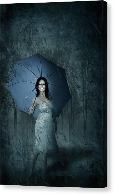 Rain Canvas Print - Happy Girl by Svetlana Sewell