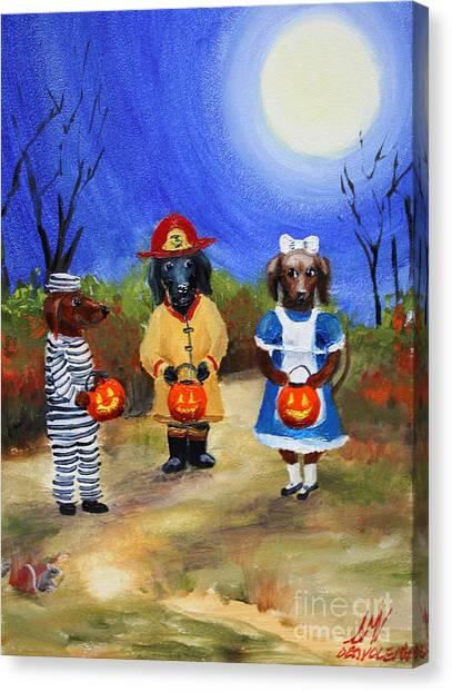 Happy Halloweenies Fireman Alice Prisoner Canvas Print by Stella Violano