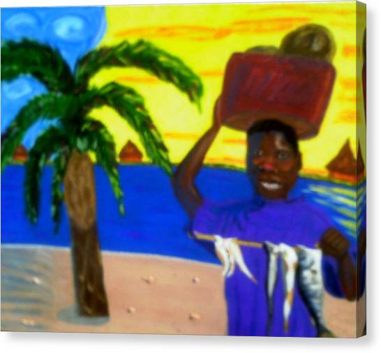 Happy With His Catch Canvas Print by Annette Stovall