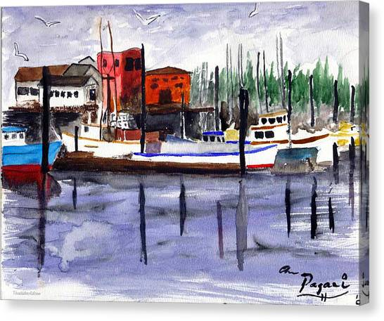 Harbor Fishing Boats Canvas Print