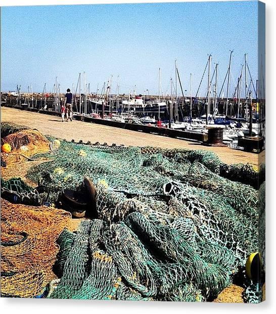 Fishing Boats Canvas Print - #harbour #coast #seaside #boats #nets by Laura Hoole