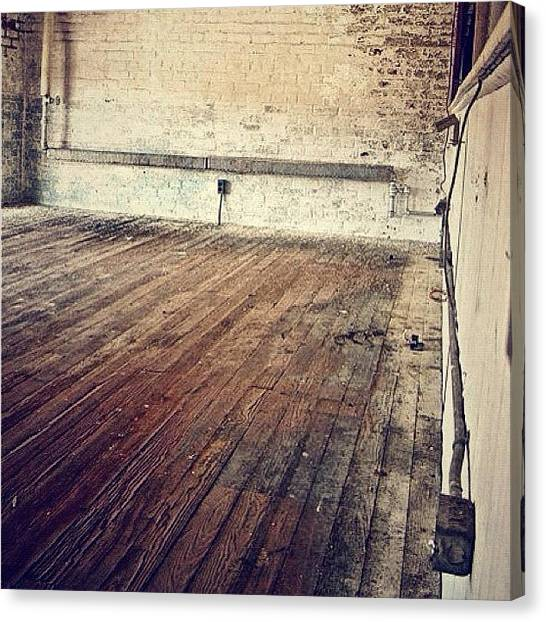 Warehouses Canvas Print - Hardwood Floors And Brick Interior by Ian Edward