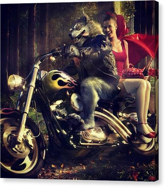 Wolves Canvas Print - #harleydavidson #redridinghood #big by Katie Ball