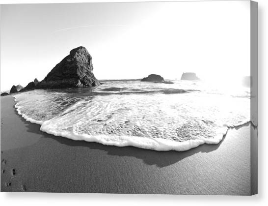 Canvas Print featuring the photograph Harris Beach State Park Monochrome by Margaret Pitcher