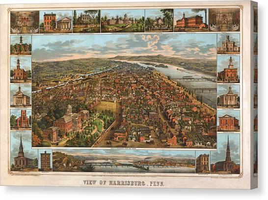 Harrisburg Pennsylvania 1855 Canvas Print by Donna Leach