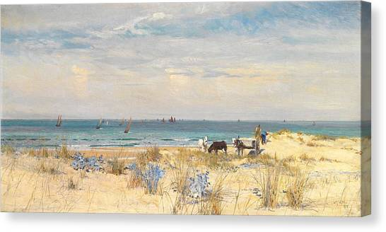 Fishing Boats Canvas Print - Harvesting The Land And The Sea by William Lionel Wyllie