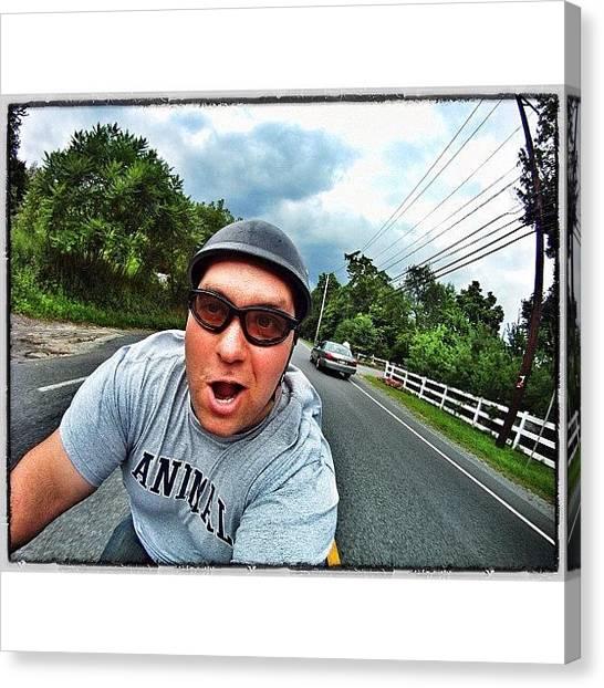 Harley Davidson Canvas Print - Having #fun #running From The #storm by Omar Elsebai