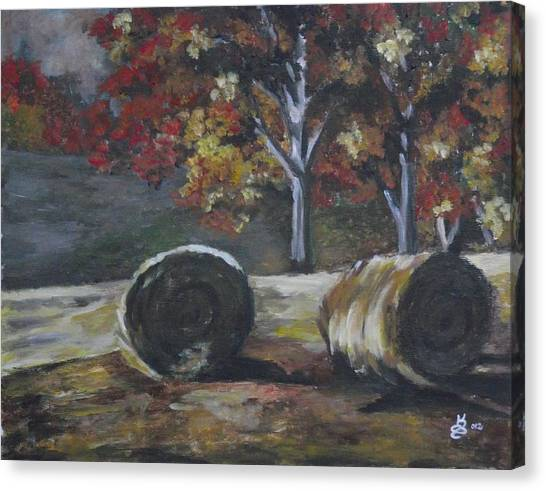 Hay Bales In Fall Canvas Print by Kim Selig