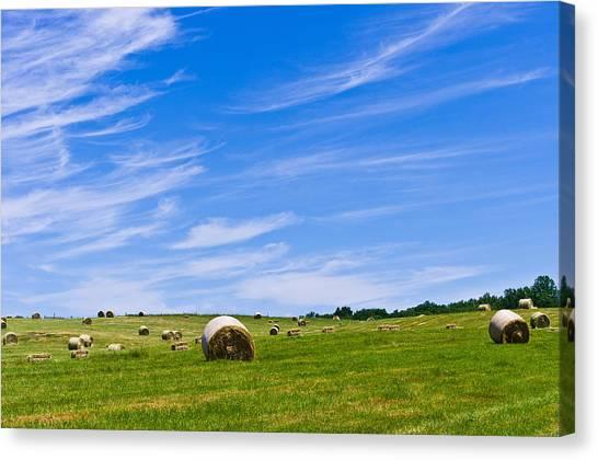 Hay Bales Under Brilliant Blue Sky Canvas Print