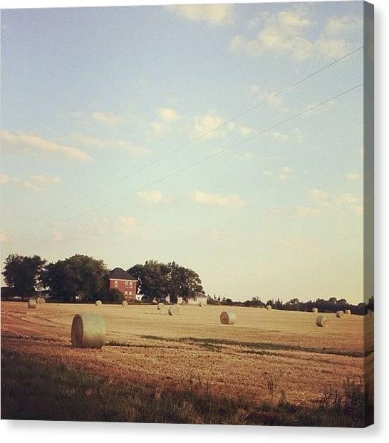 Farmhouse Canvas Print - #hay #field #farm #farmhouse by Marc Plouffe