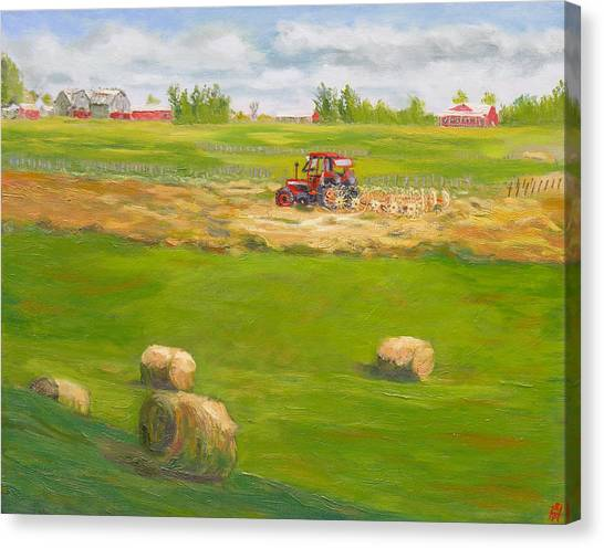Philidelphia Canvas Print - Haying At Otter Creek Winery by Robert P Hedden