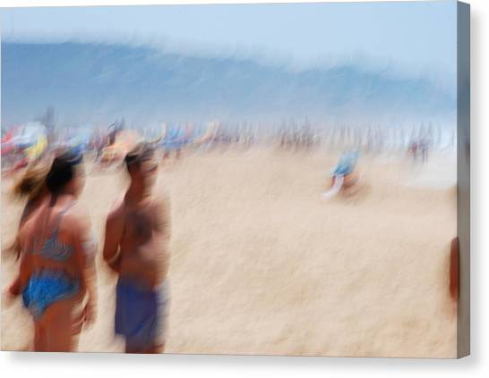 Haze On The Beach Canvas Print by Perry Van Munster