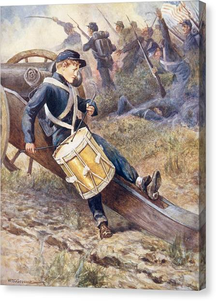 Worried Canvas Print - He Crawled Behind A Cannon And Pale And Paler Grew by William Henry Charles Groome
