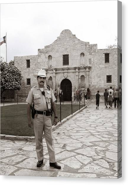 Canvas Print featuring the photograph He Guards The Alamo by Lorraine Devon Wilke