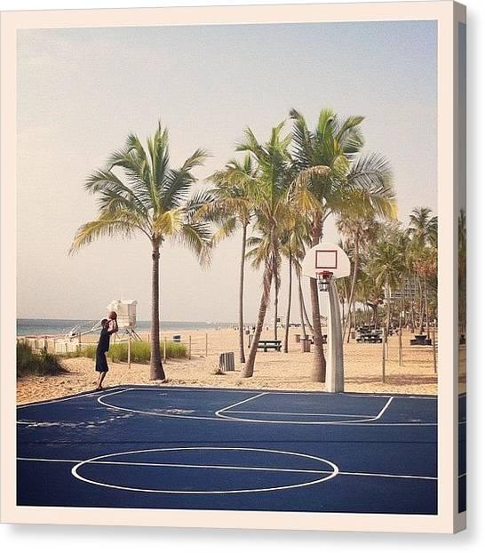 Basketball Players Canvas Print - He Shoots, He Scores! #early #morning by Sebastiaan Van der Graaf