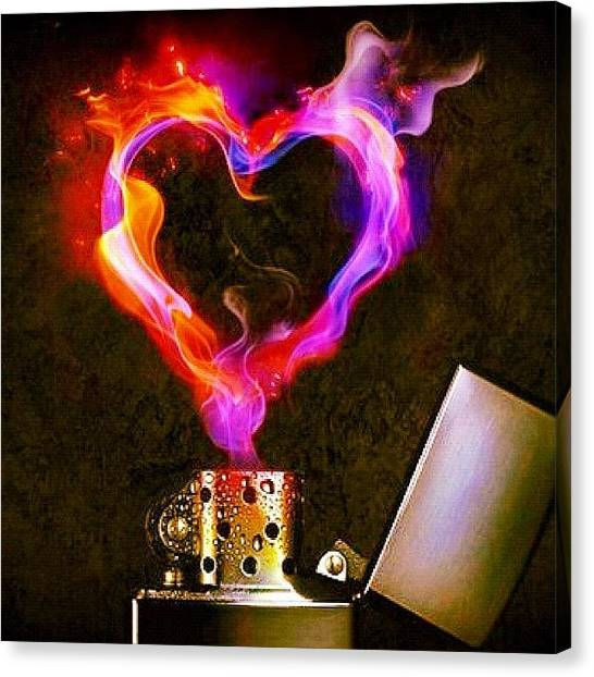 Flames Canvas Print - #heart #love #lighter #flame #fire #heat by Sophie D