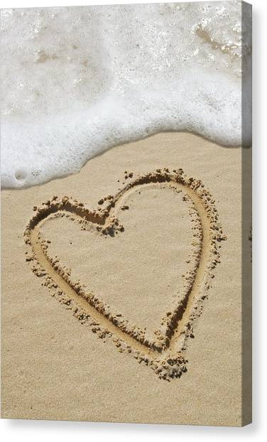 Heart-shape Drawn In Sand Canvas Print by Tony Craddock