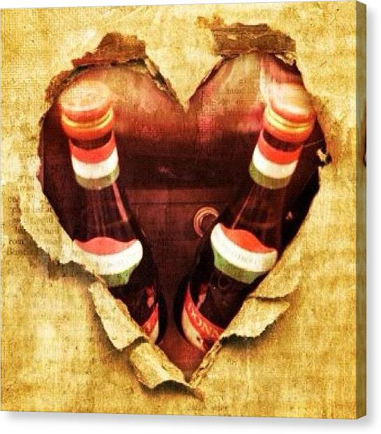 Red Wine Canvas Print - Hearts by Avril O