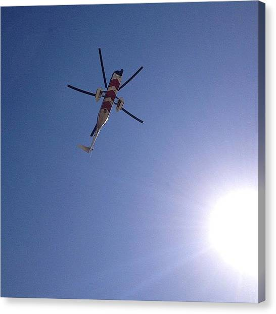 Helicopters Canvas Print - #helicopter #sky #sun #summer #blue by Matt Laity
