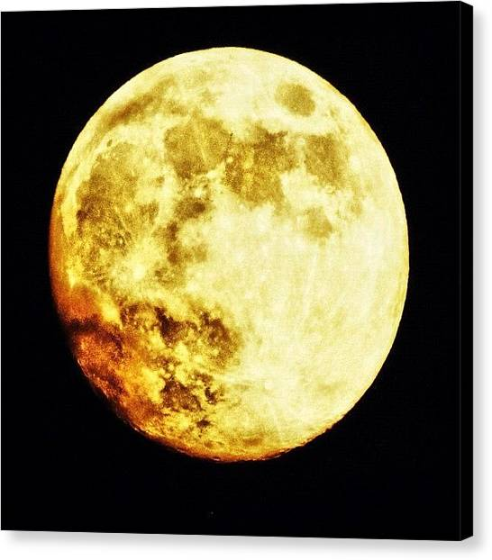 Arkansas Canvas Print - hello Mr. Moon Last Night's Moon by Roger Snook