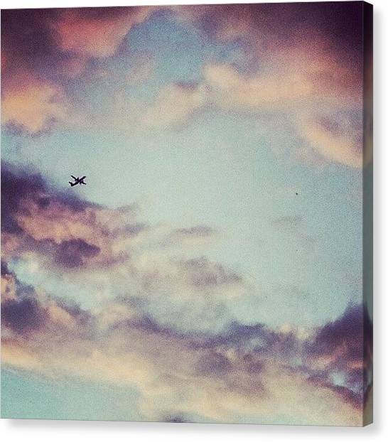Flying Canvas Print - Hello Up There! #airplane #sky #clouds by Jess Gowan