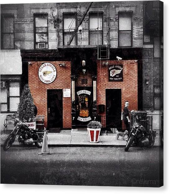 Biker Canvas Print - Hells Angels Nyc by Natasha Marco