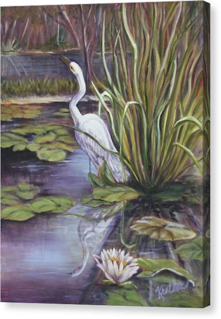 Heron Standing Watch Canvas Print