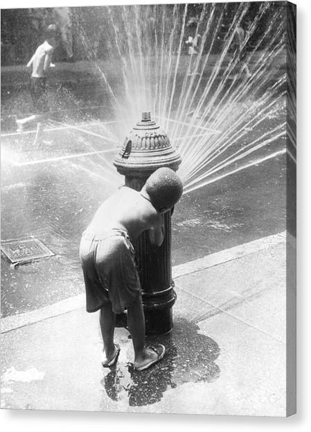 Hiding Behind Hydrant Canvas Print by Archive Photos