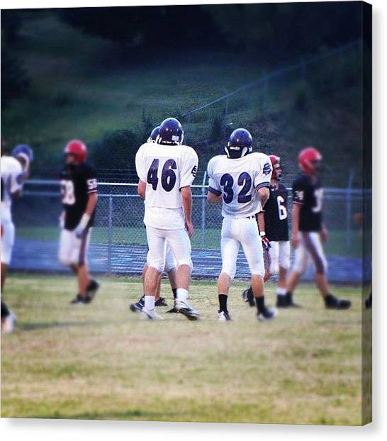 Linebackers Canvas Print - #highschool #freshmen #football #game by S Smithee