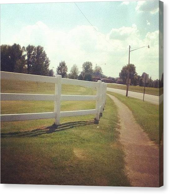 High School Canvas Print - #highschool #high #school #fence #road by Jo Graves